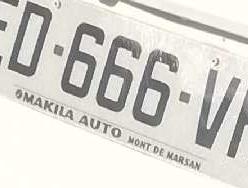 Plaque d'immatriculation Nombre sataniste